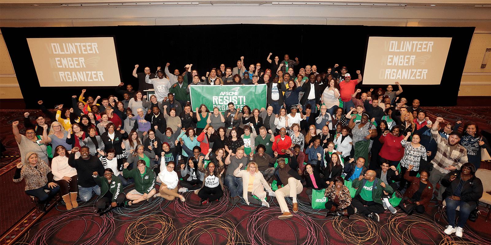 Group photo of AFSCME volunteer member organizers